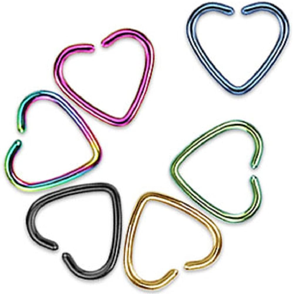 Set of 6 Stainless Steel Heart Earrings with Titanium Plating Clip-On Cartilage Piercing