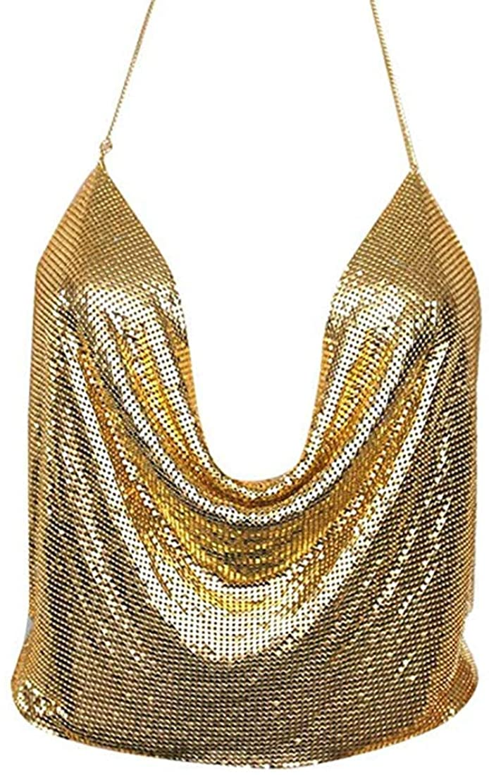Women Metal Sequin Sparkle Glitter Tank Deep V Neck Spaghetti Strap Backless Chain Halter Crop Tops Party Blouse