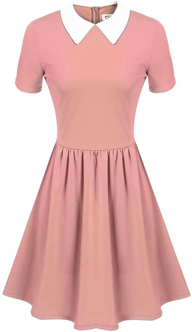 Women's Cute Pink Short Sleeve Doll Collar Dress (L, Pink)