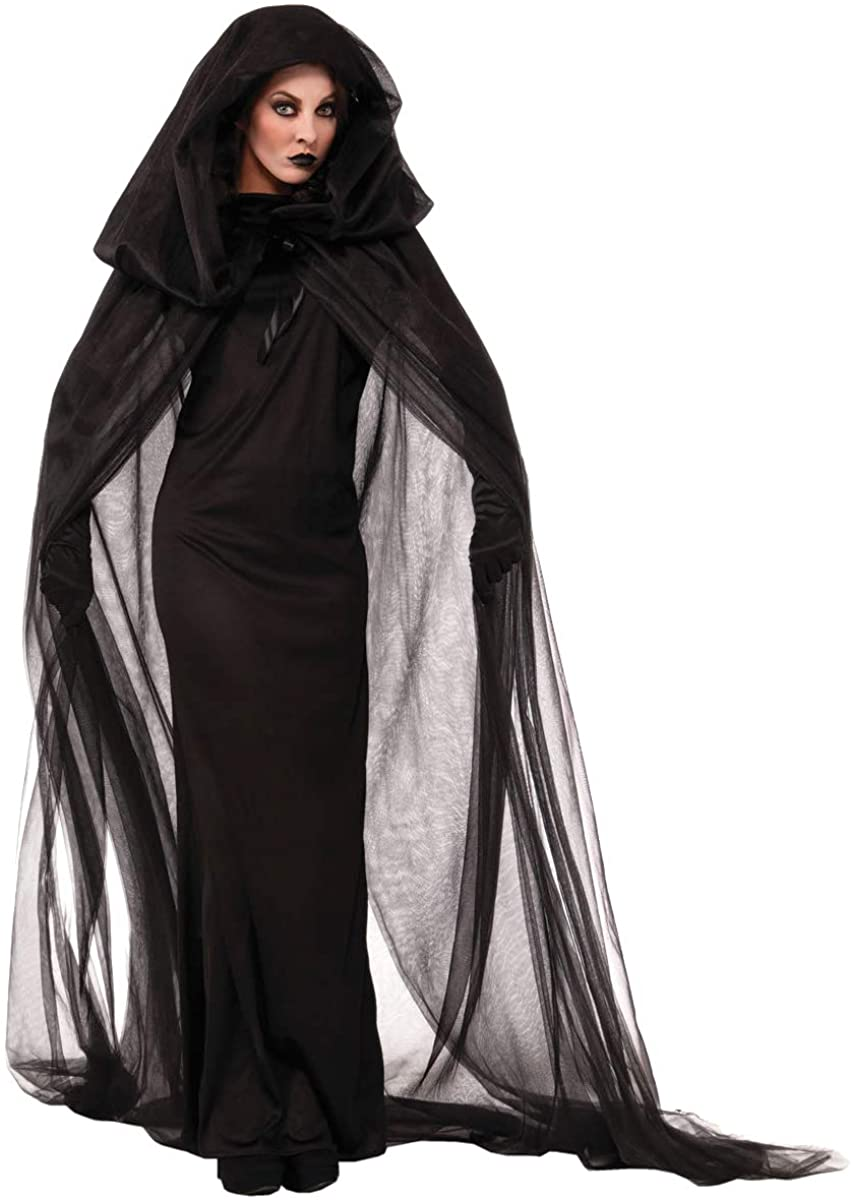 RIBIKA Women Black Witch Halloween Costume for Adults 2PC Cloak Hooded Dress