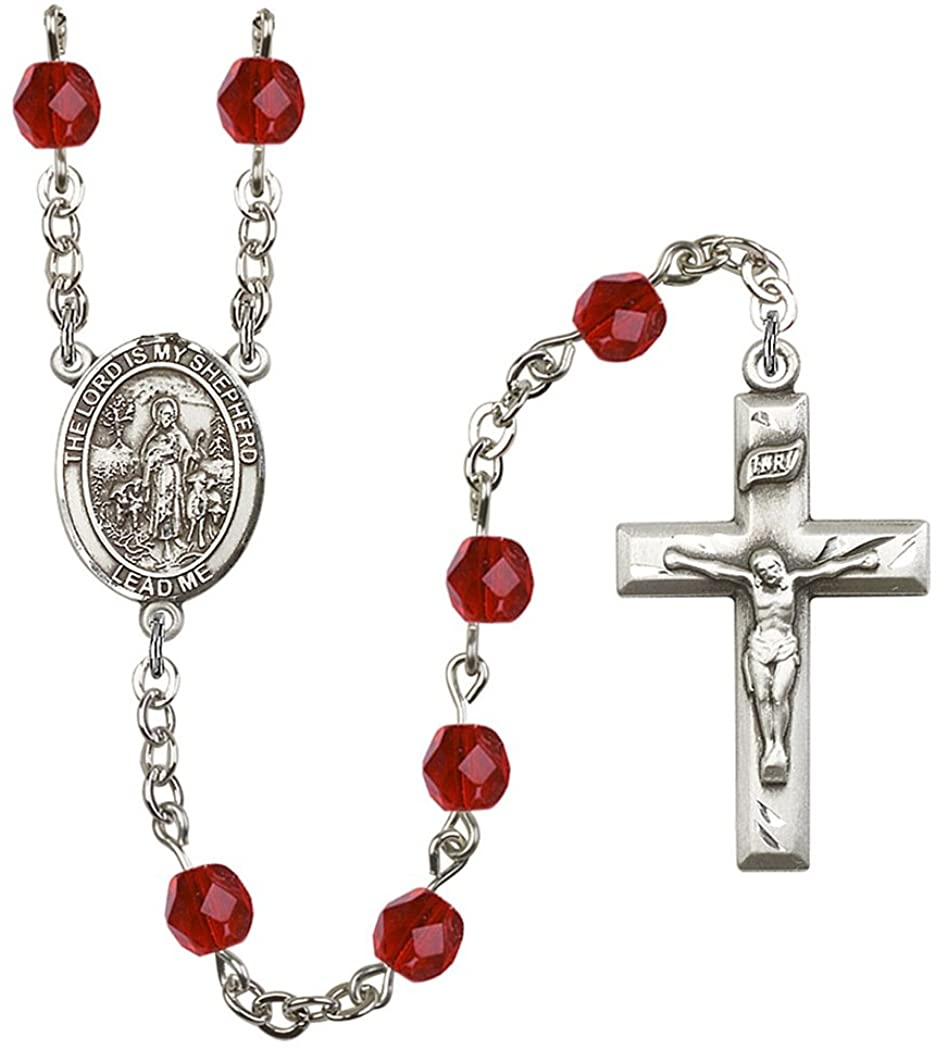 July Birth Month Prayer Bead Rosary with Patron Saint Centerpiece, 19 Inch