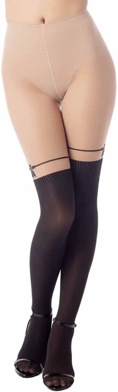 iB-iP Women's Garter Thigh-High Hot 50 DEN Slightly transparent Tights Pantyhose