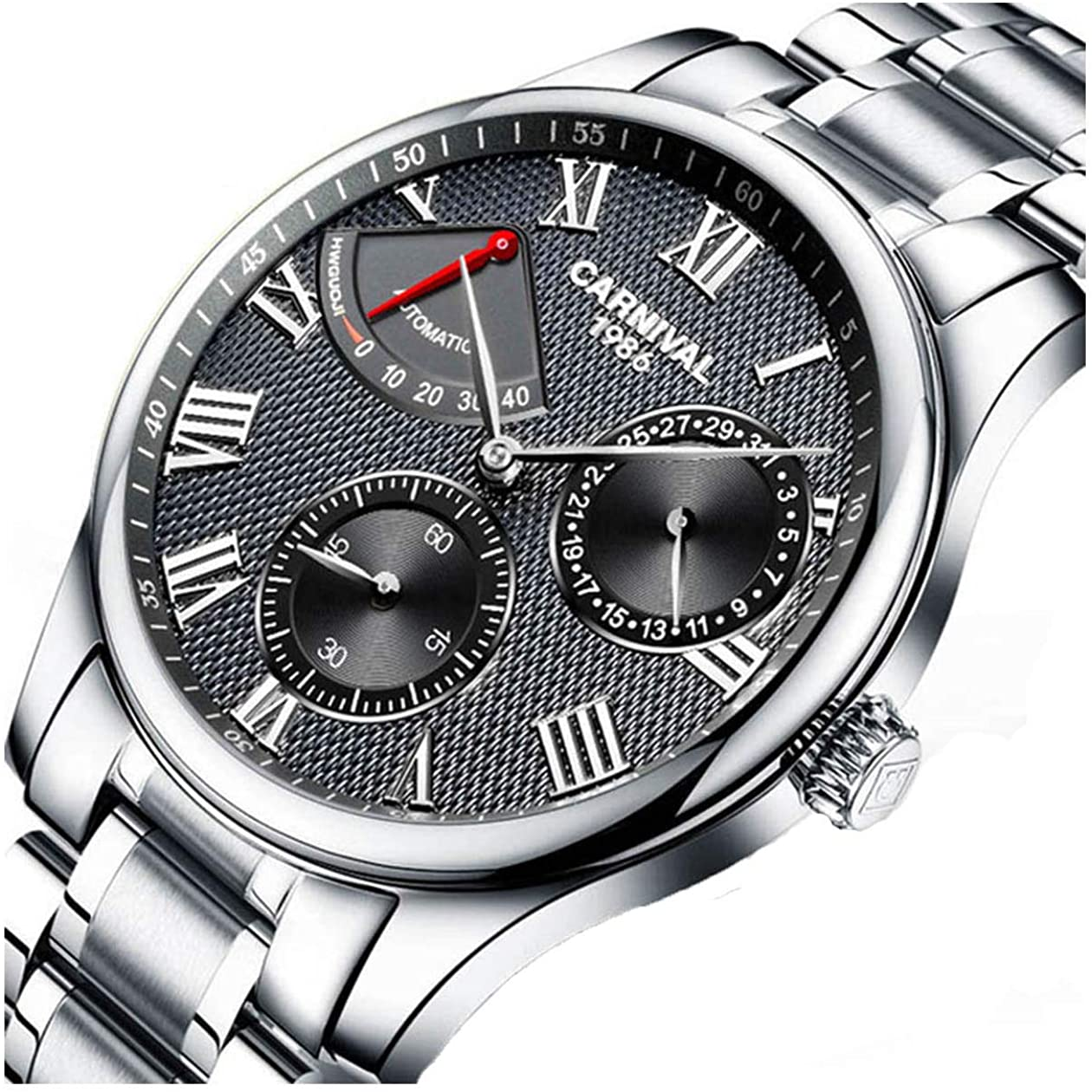 Men's Automatic Watches Power Reserve Display Stainless Steel Watches Waterproof Swiss Gents Wrist Watch