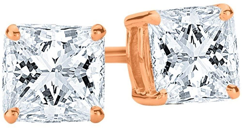 1/4-2 Carat Total Weight Princess Diamond Stud Earrings 4 Prong Push Back (G-H Color VS1-VS2 Clarity)