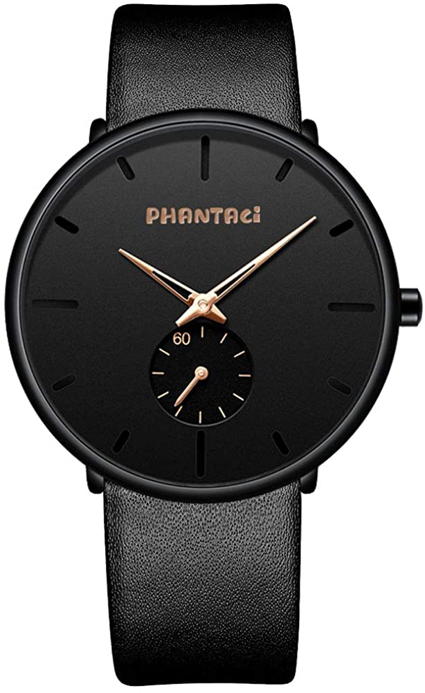 PHANTACI Minimalist Watch (V2),Mens Watches -Slim Watch for Men Waterproof 30M Leather Watches for Young Men (Style:Casual,Simple or Fashion)