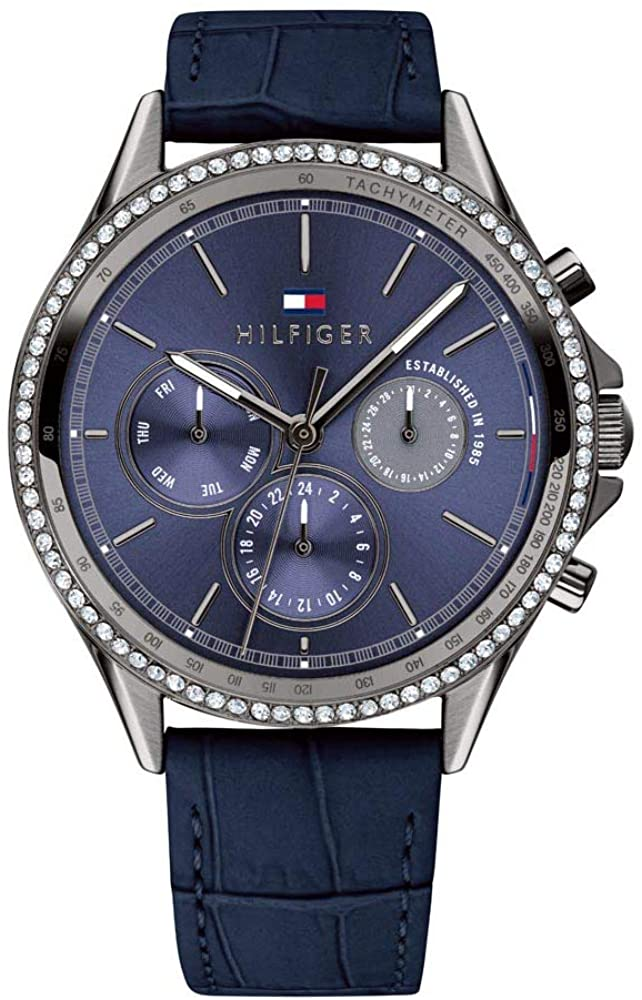 Tommy Hilfiger Women's Casual Stainless Steel Quartz Watch with Leather Strap, Blue, 18 (Model: 1781979)