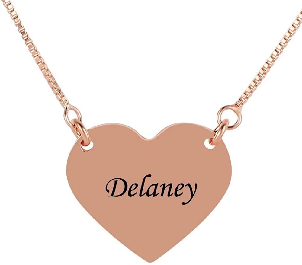 Personalized Name Letter Engraved Pendant Sterling Silver Personalized Name Medallion Necklace Girls Heart Tiny Name Love Choker Necklace Jewelry for Women Men