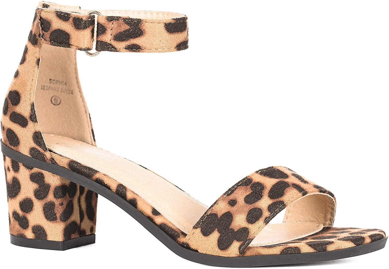 Women�s Ankle Strap Kitten Heel Sandal � Comfortable Cute Low Block Heeled Sandals � Sophia