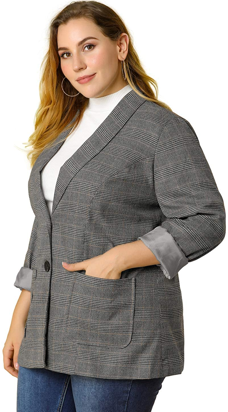 Agnes Orinda Women's Plus Size Blazers Plaid Notched Lapel Houndstooth Winter Jacket
