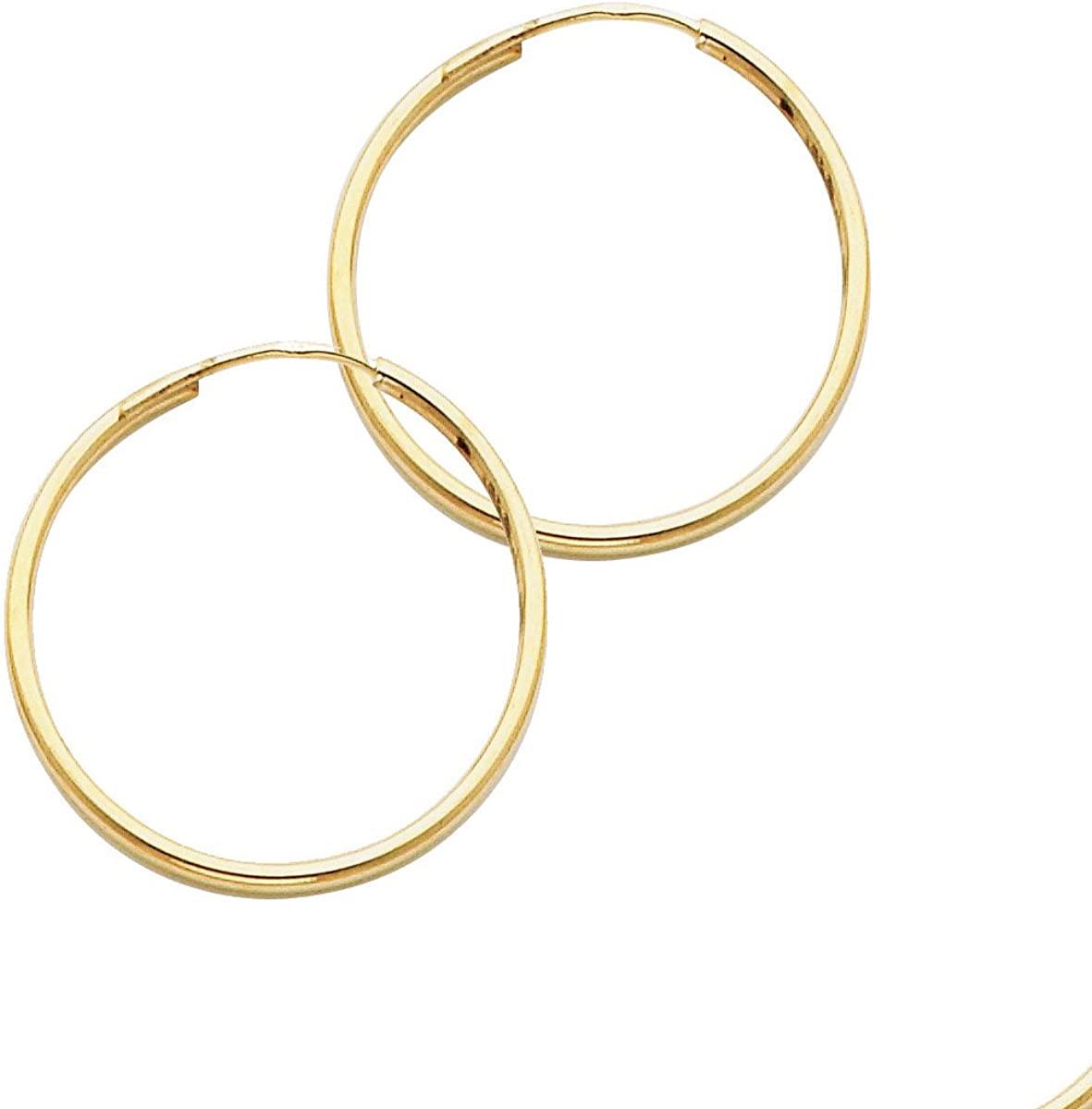 14K Yellow Gold 1.5mm Thickness Hoop Endless Earrings/Diameter 25 MM