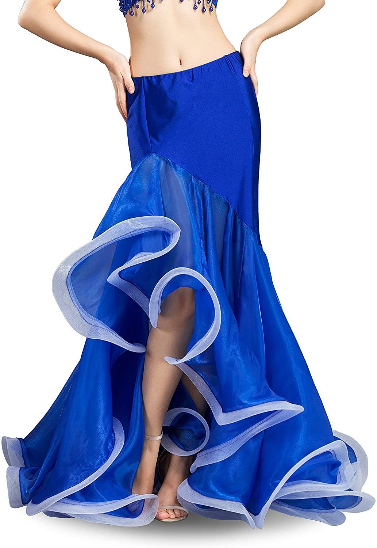 ROYAL SMEELA Belly Dance Skirt Belly Dancer Costumes for Women Maxi Fishtail Skirt Ruffle Mermaid Skirts Carnival Outfits