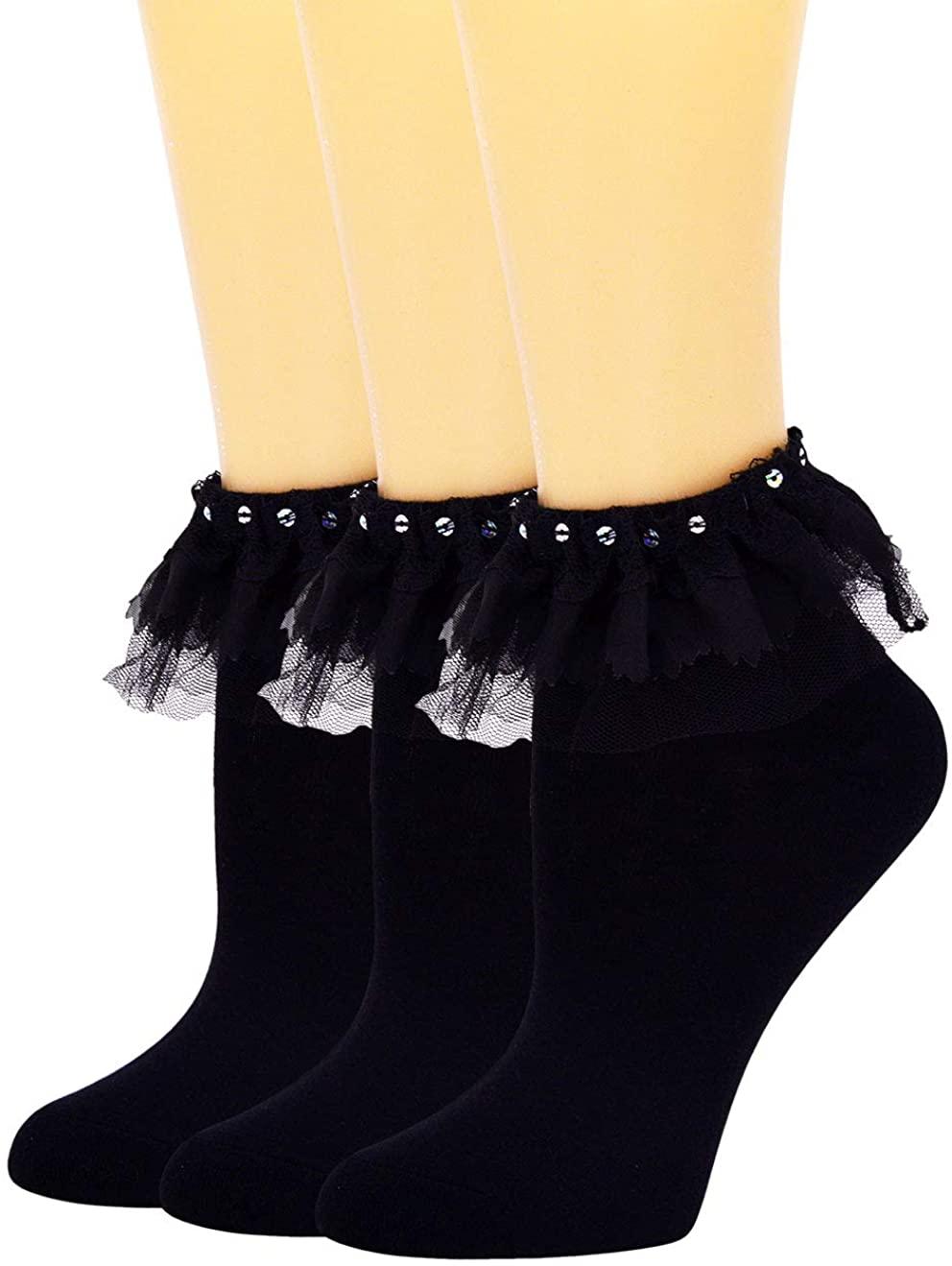 SEMOHOLLI Women Ankle Socks Lace Socks Ruffle Frilly Cotton Socks Cotton Socks Princess Socks Girl Socks