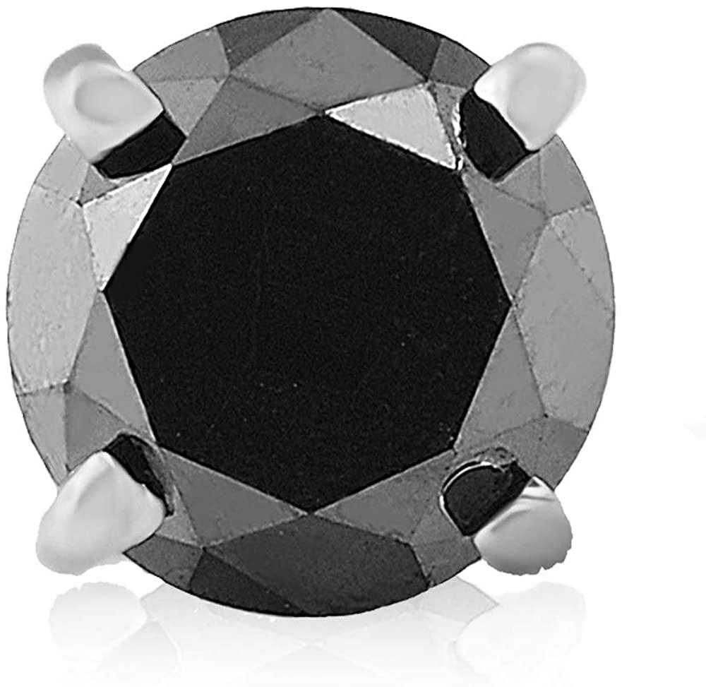 2ct Black Diamond Single Stud 14K White Gold