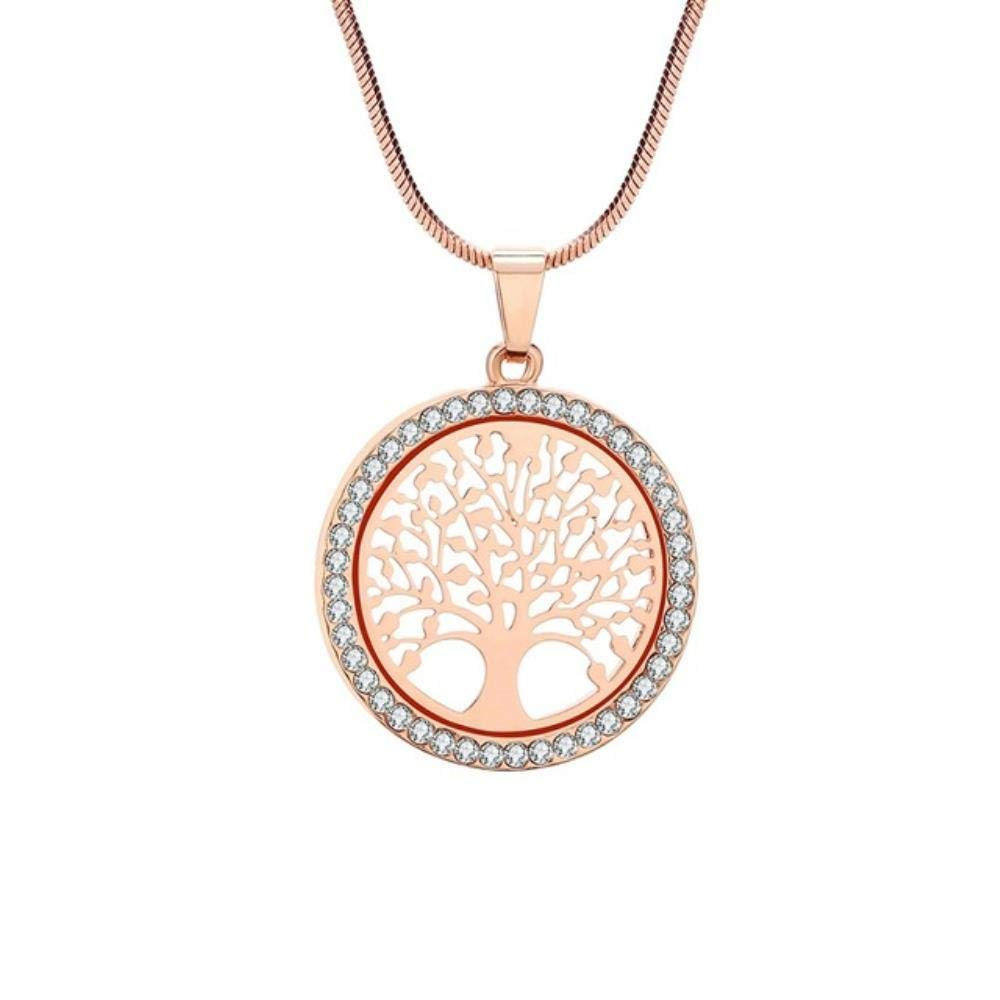Hot Tree of Life Crystal Round Small Pendant Necklace Gold Silver Color Bijoux Collier Elegant Women Jewelry Gifts Dropshipping,Rose Gold Color