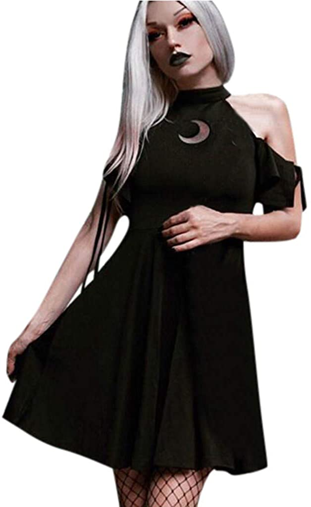 Gothic Dresses for Women,Black Retro Gothic Style Punk Cold Shoulder Hollow Out Moon Printed Dresses