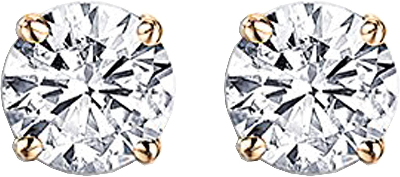 Dazzlingrock Collection IGI CERTIFIED 14K Gold Round Cut White Diamond Ladies Stud Earrings