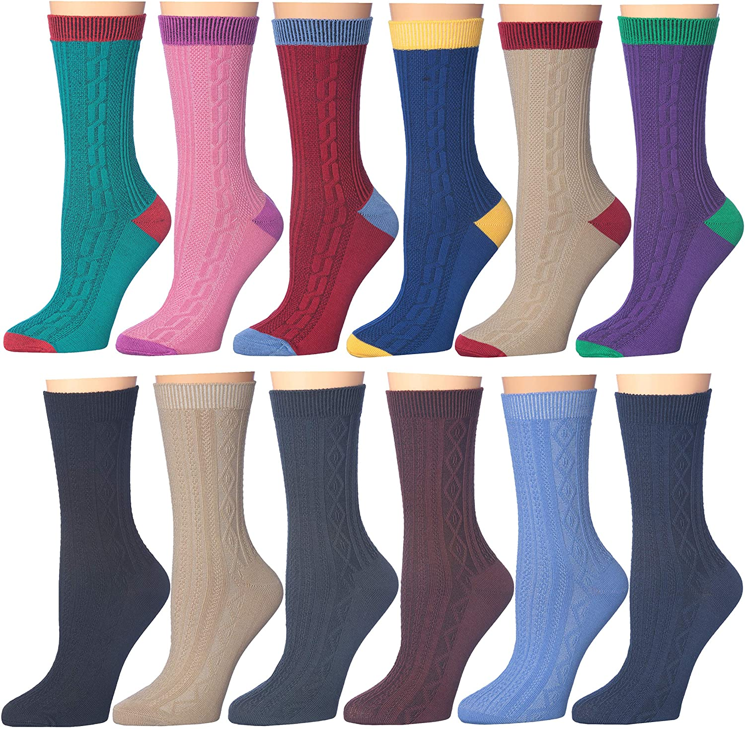 12 Pack Women's Colorful Patterned Cute Funny Casual Fashion Crew Socks by Frenchic
