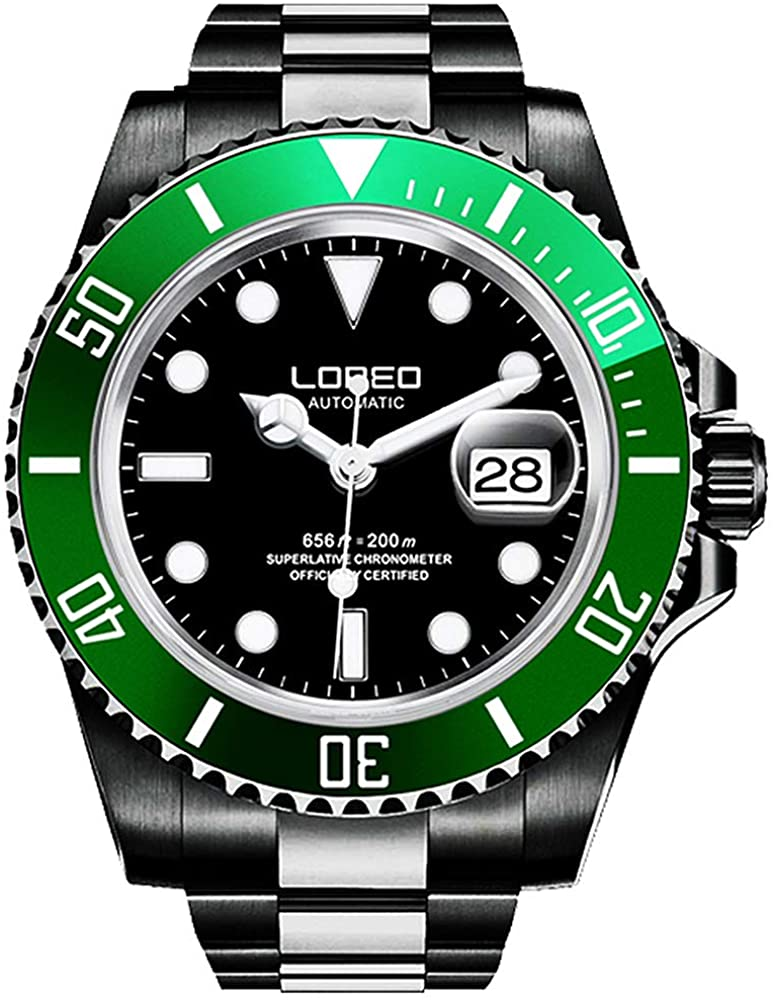 LOREO Mens Full Black Stainless Steel Sapphire Glass Rotating Bezel Military Waterpoof Mens Automatic Watch