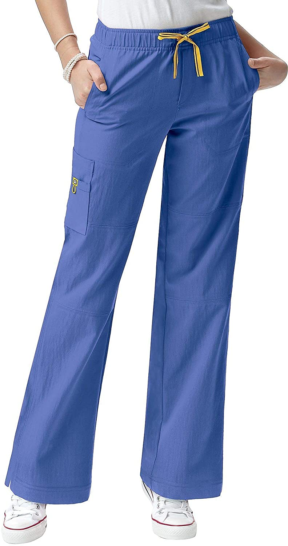 WonderWink 4-Stretch Women's 5214 Sporty Cargo Scrub Pant- Fiji Blue- Small
