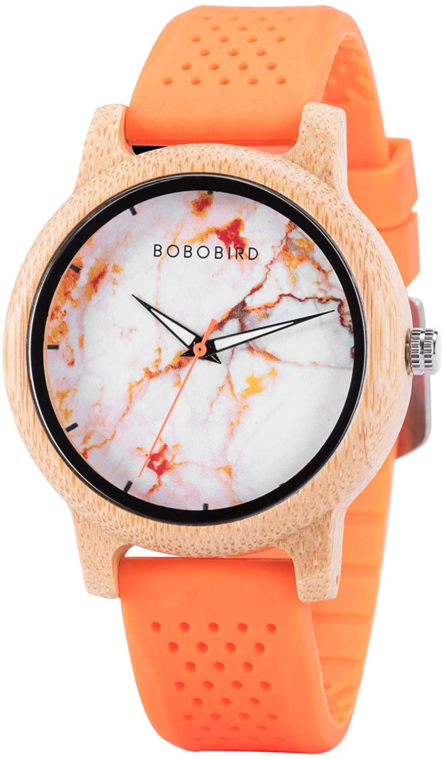 Wood Watches for Men,Wooden Handmade Watch with Lightweight Orange Band, Natural Casual Fashion Quartz Watches