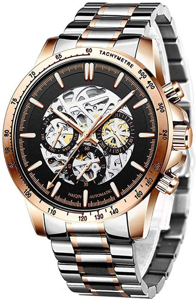 Men's Watch Automatic Mechanical Watch Stainless Steel Self-Winding Skeleton Watch, Skeleton Dial, Double Second Hand, Sport Clock Casual Business Wrist Watch