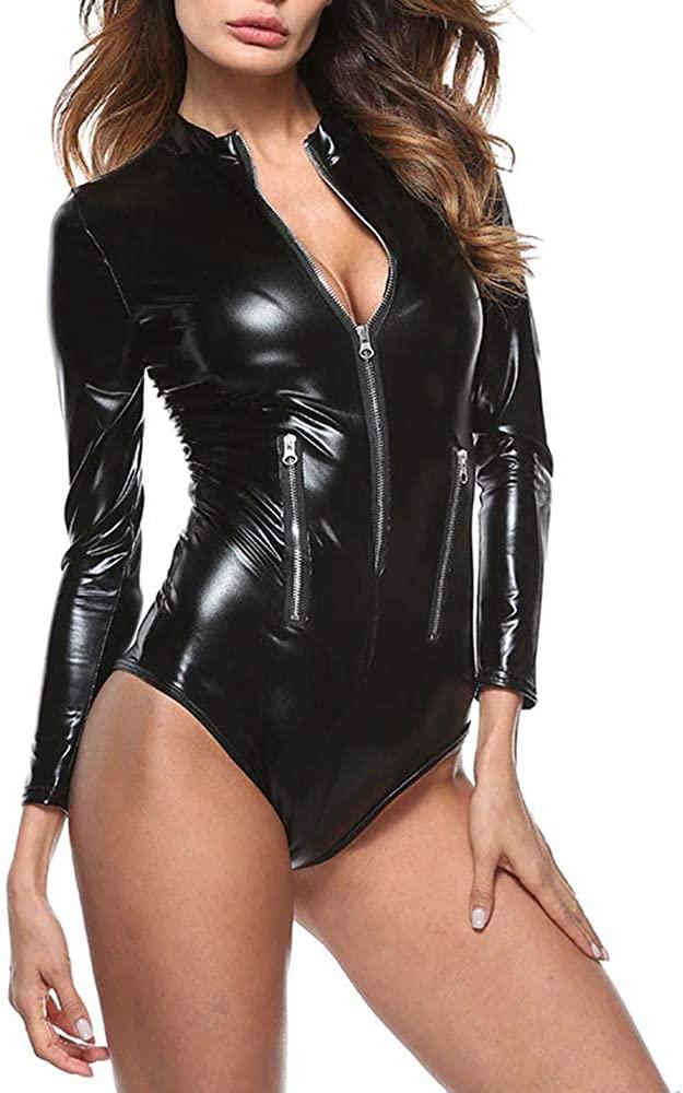 Miracle Womens Leather Bodysuit Long Sleeve Zip Front Wetlook Vinyl PU Teddy Lingerie