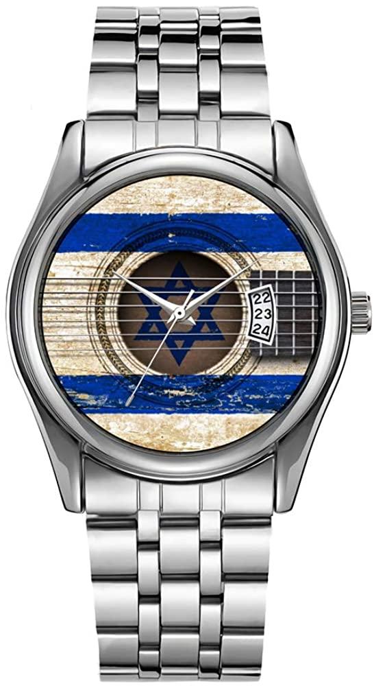 Men Watch Fashion Male Date Calendar Clock Sports Watchband Waterproof Full Stainless Steel Man Quartz Wrist Watche Old Acoustic Guitar with Israeli Flag Wristwatches