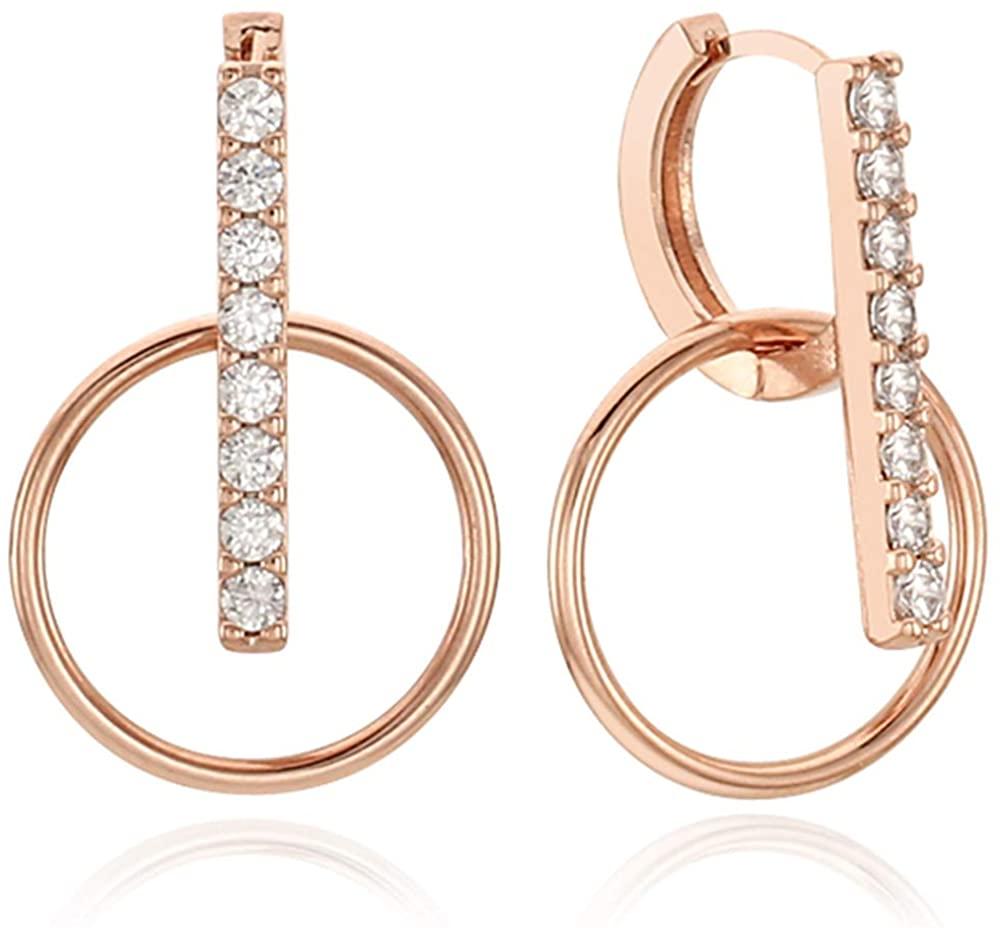 EVA 14K Gold Post Cubic Zircornia Round-Shaped drop Hoop Earrings Rose Gold Plating