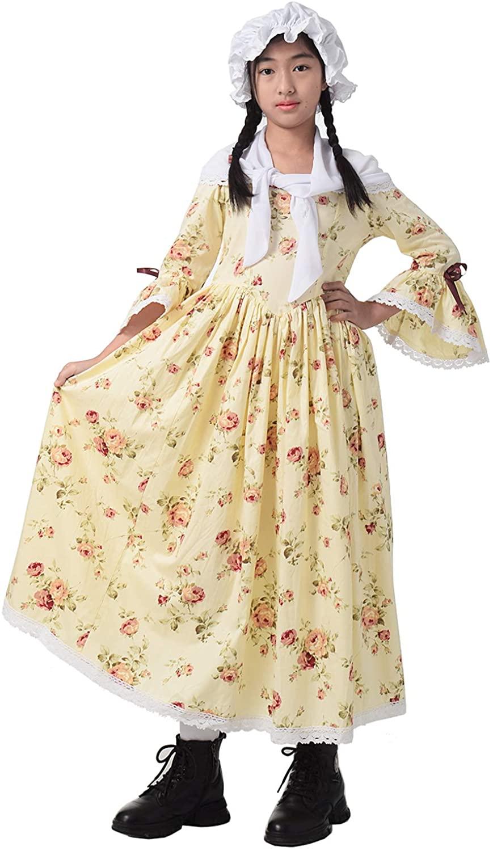 GRACEART Colonial Girls Dress Prairie Pioneer Costume 100% Cotton (5 Colors Option)