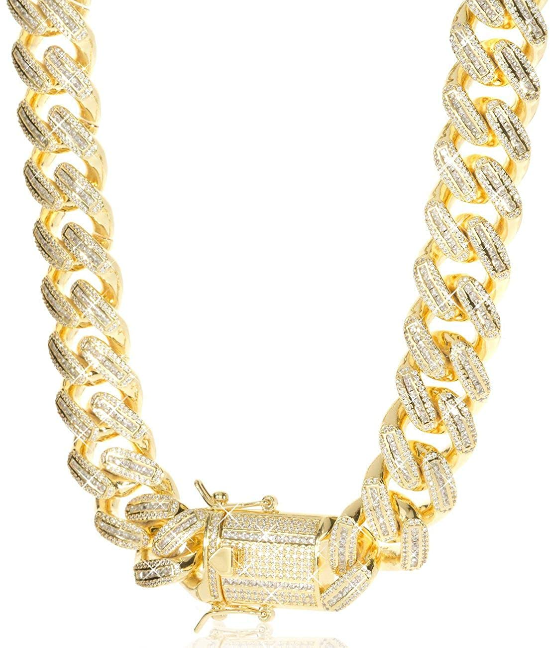 TRIPOD JEWELRY 18mm Iced Out Baguette Cuban Link Chain or Bracelet - Hip Hop Gold Chains 18K or White Gold Plated Miami Cuban Link Chains Baguette CZ Diamond Cuban Link Choker Gold Bracelets