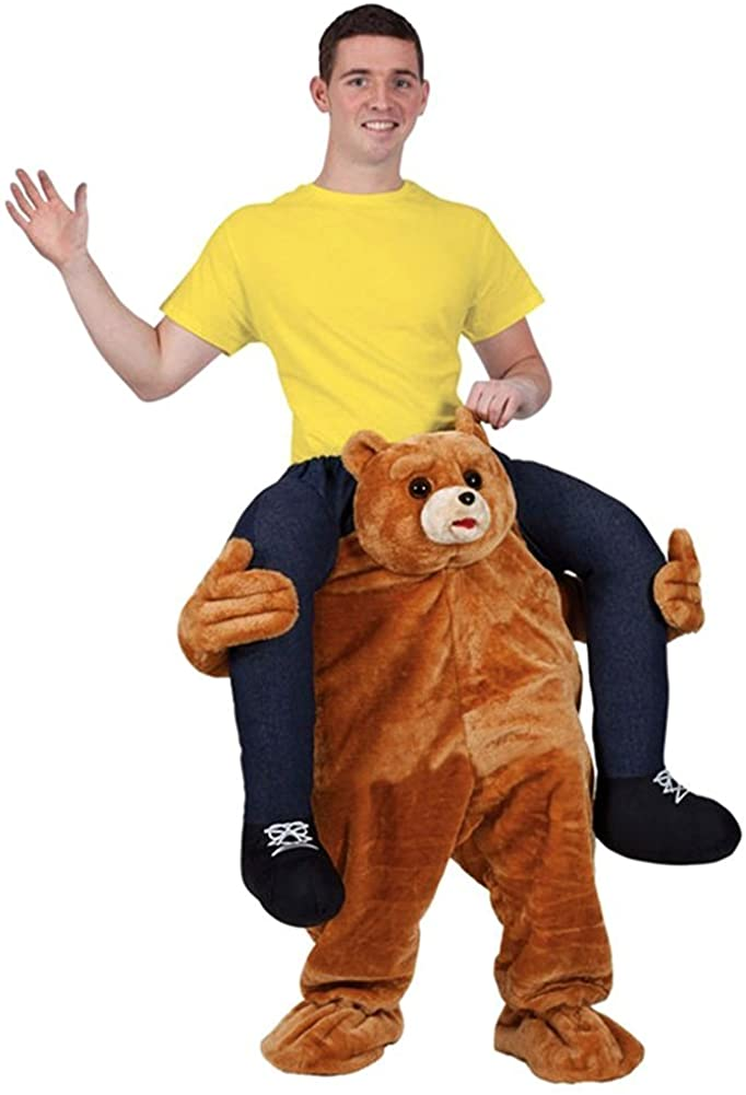 Halloween Carry Ride On Piggy Back Shoulder Adult Teddy Bear Mascot Costume Unisex Fancy Dress