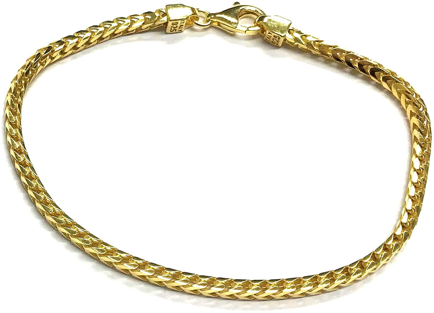 Sterling Silver Mens Solid Franco Square Box Link Chain Necklace/Bracelet - 1.8MM-4.7MM - Yellow or Rhodium