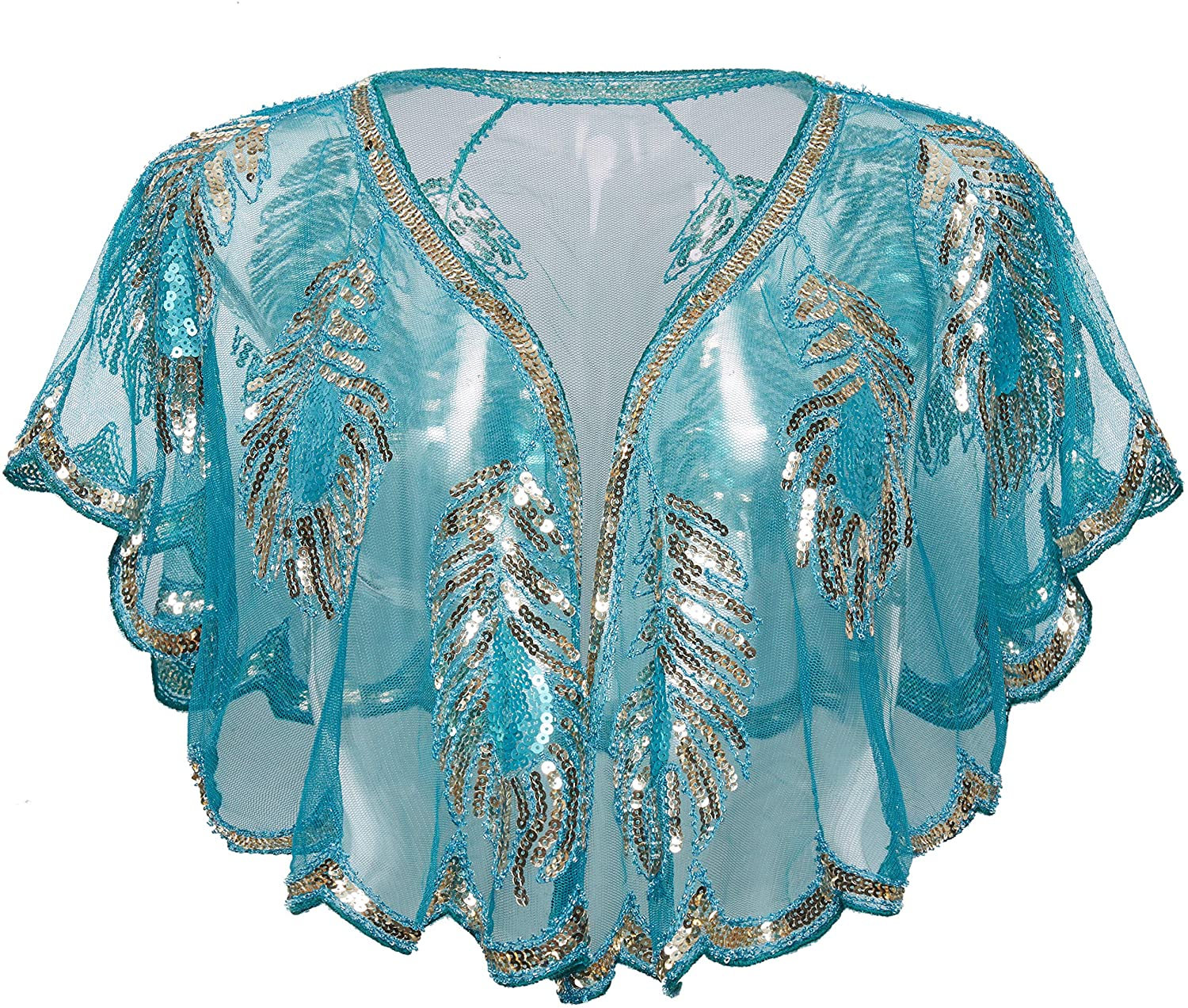 BABEYOND 1920s Gatsby Shawl Wraps Sequin Beaded Evening Cape Bridal Shawl