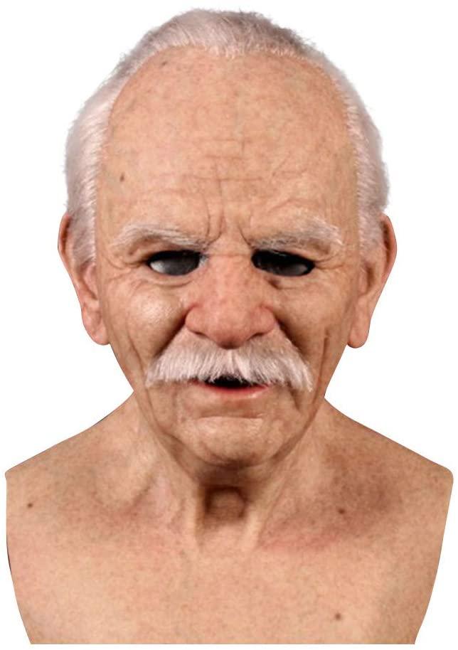 GDJ Halotiti Realistic mask-Halloween Fancy Dress Party, Halloween Dress-up mask-Old Man Look Mask-Latex, Halloween Surreal mask Costume Dress up