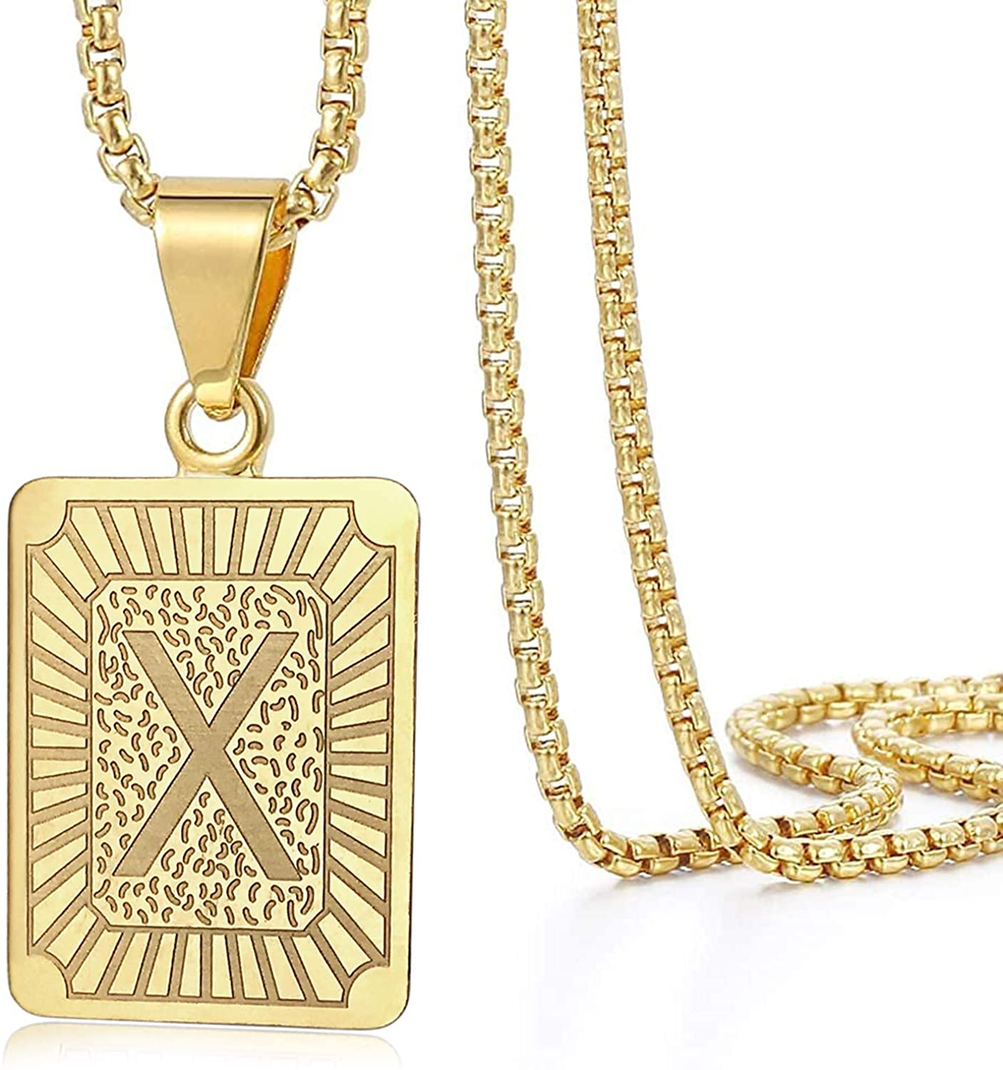 Initial Letter Pendant Necklace Gifts for Mens Womens Capital Letter Yellow Gold Plated A Z Stainless Steel Chain Necklaces