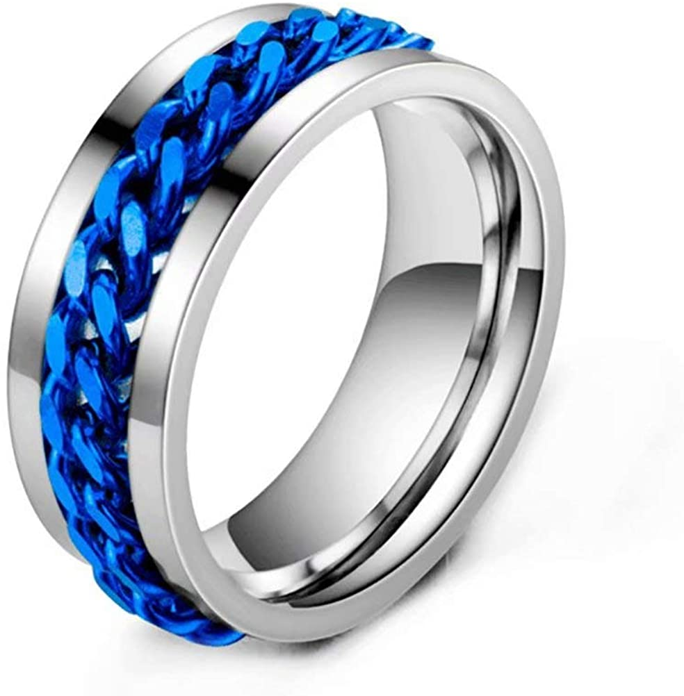 WOGOU 8MM Mens Womens Spinner Band Ring Stainless Steel Center Chain Rings for Anxiety Stress Relieving, Lucky Worry Ring Wedding Band