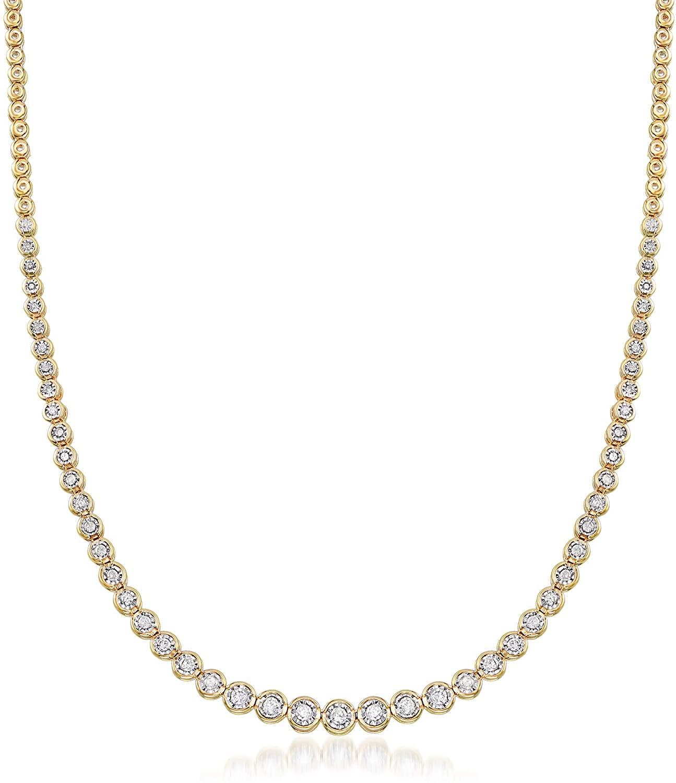 Ross-Simons 1.50 ct. t.w. Bezel-Set Diamond Necklace in 18kt Gold Over Sterling