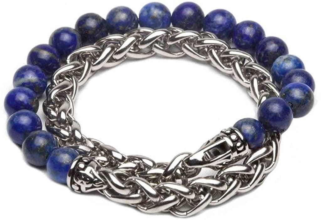 ZENGER Jewelry Zachary Chain Beaded Double Wrap Bracelet, Lapis Lazuli, 8mm, Stainless Steel