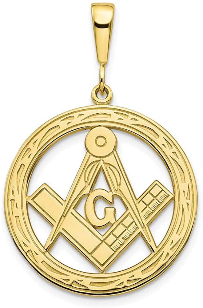10k Yellow Gold Solid Masonic Freemason Mason Symbol Pendant Charm Necklace Career Professional Fine Jewelry For Women Gifts For Her