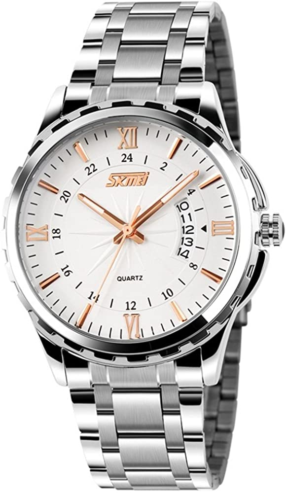 TONSHEN Fashion Mens Analog Quartz Watches Stainless Steel Business Elegant Classic Wrist Watch Leisure Luminous Date