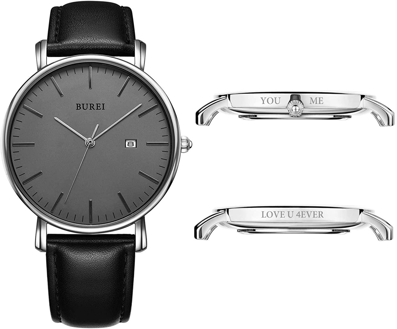 BUREI Men's Custom Personalized Watch Minimalist Ultra-Thin Wristwatch Analog Date with Stainless Steel Mesh Band