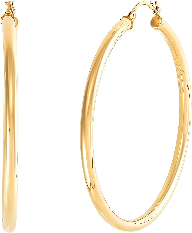 50 mm Round Tube Hoop Earrings in 14K Gold