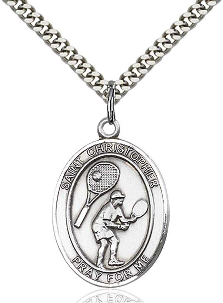 Bonyak Jewelry St. Christopher - Tennis Hand-Crafted Oval Medal Pendant in Sterling Silver