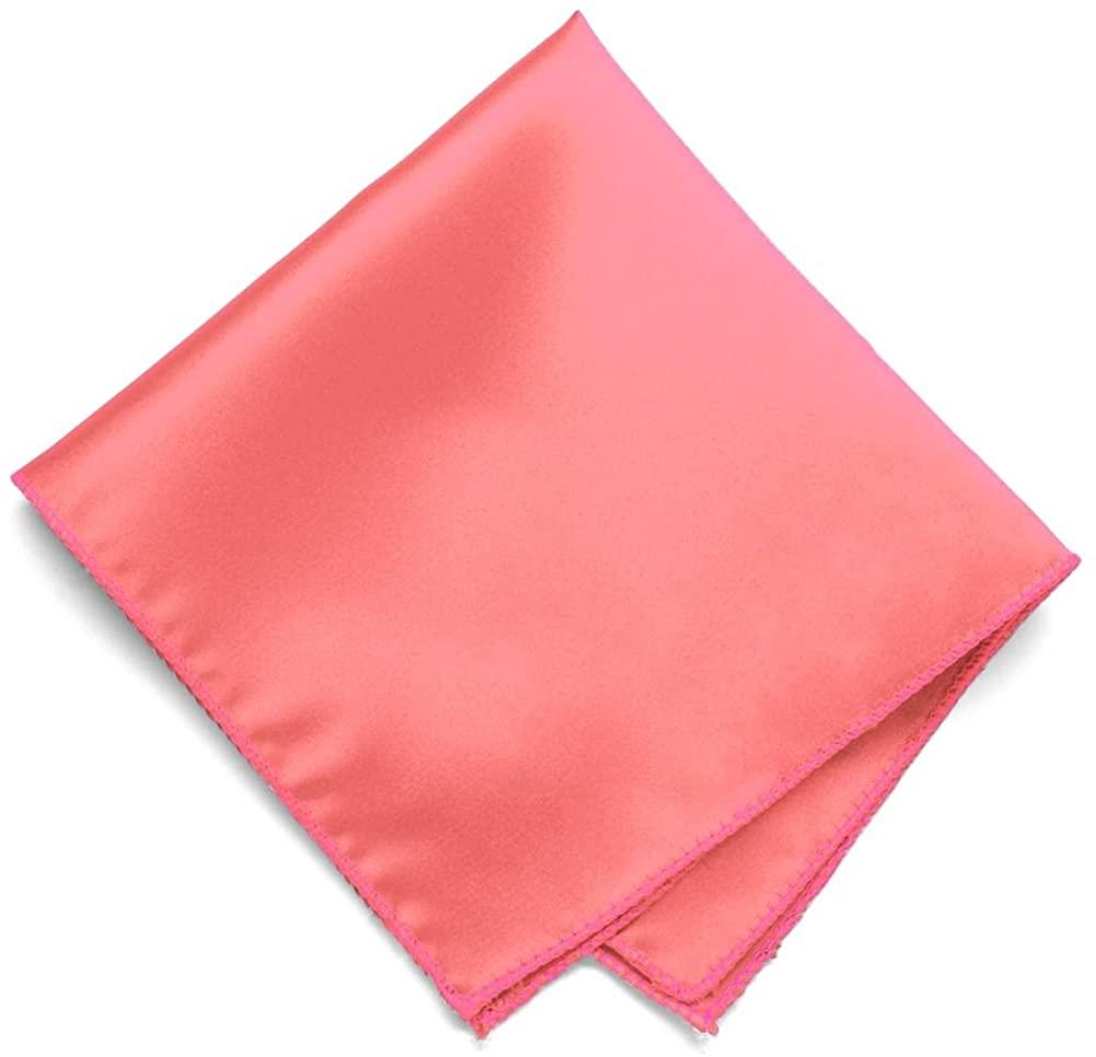 TieMart Coral Solid Color Pocket Square