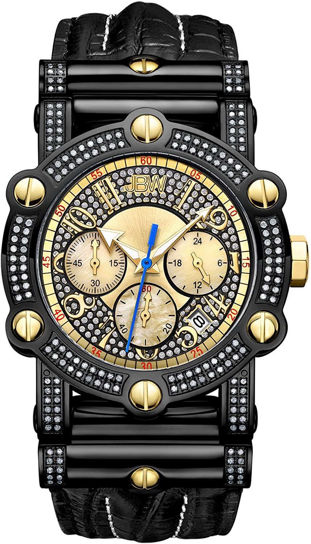 JBW Men's 10-Year Anniversary Phantom 1.96 ctw Diamond Wrist Watch with Leather Bracelet