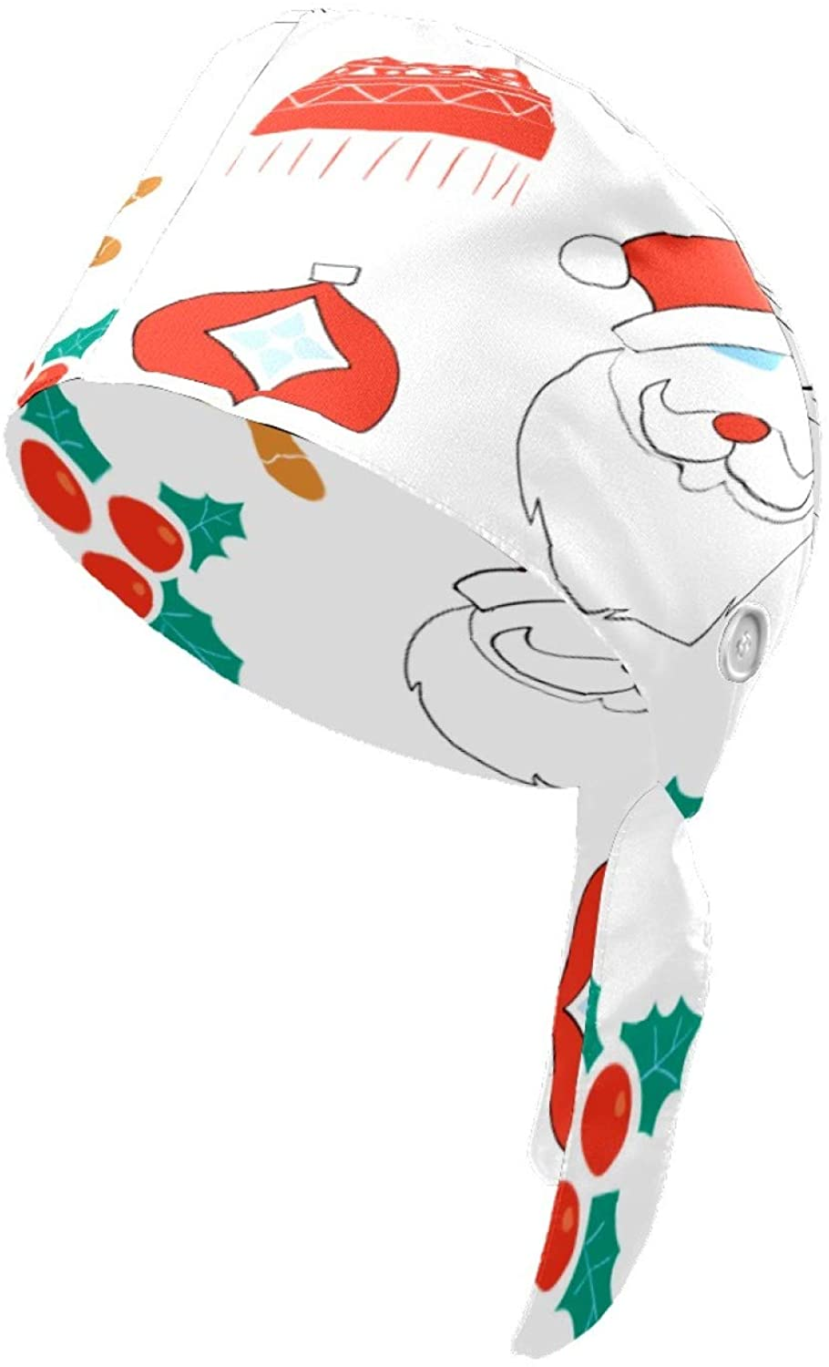 Cute Scarf Hat Women Working Cap Head Scarf for Men Printed Hats with Button for Men and Women Santa Claus Bird Hat Hair Cover with Button Women Hats and Scarves Bouffant Caps Funny Tie Back Hat