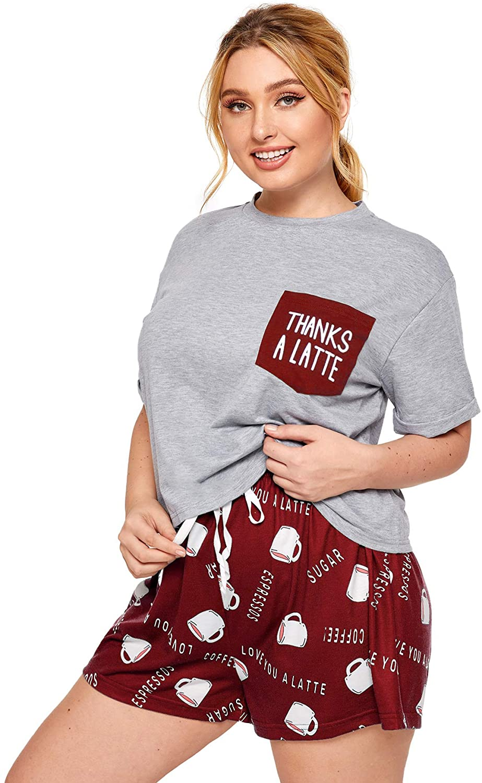 Milumia Women Plus Size Pajamas Sets Letter Graphic Loungewear