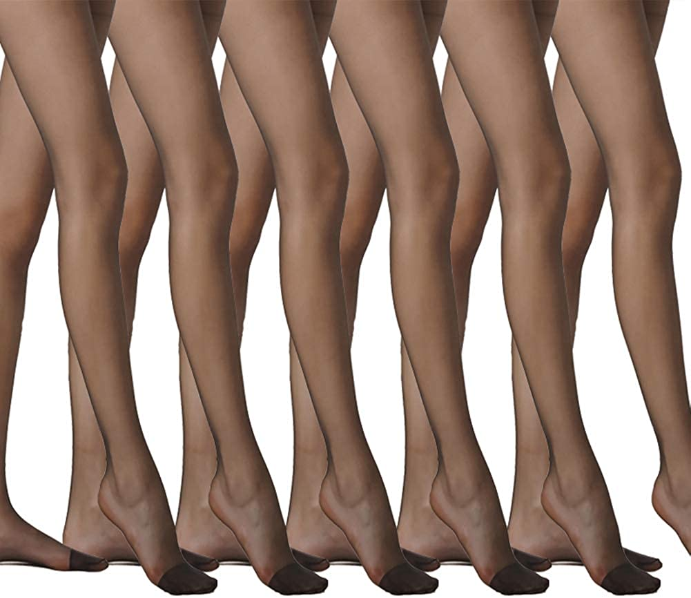 LANGSHA Women Sheer Tights Pantyhose Reinforced Toe Run Resistant With Control Top Shapewear Durable Comfortable 10 Denier