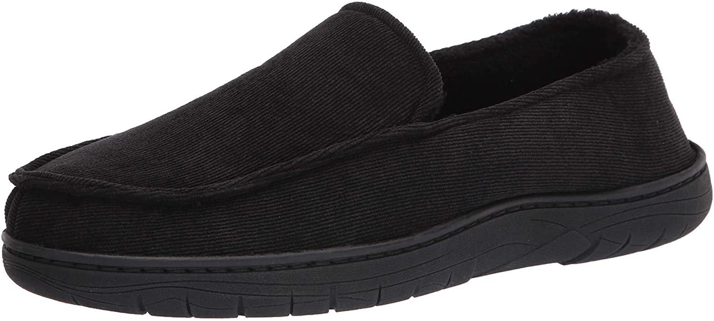 Hanes Men's Corduroy Venetian Slipper Shoe - Memory Foam with Indoor Outdoor Sole