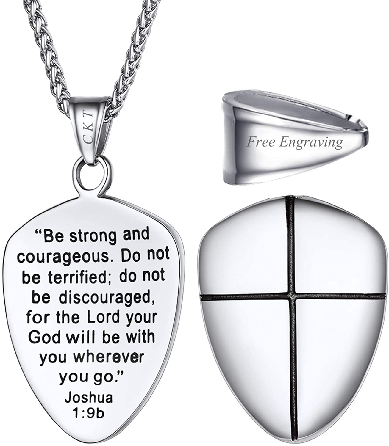 U7 Shield of Faith/Inspirational Pendant Chain 22 Inch Joshua 1:9 Cross Amulet Necklace, Text Engrave Customizable, 3 Color Options